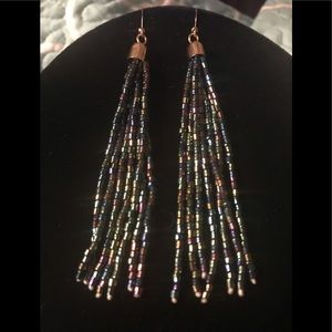 Multi Beaded multi Colored Dangle Earrings NWOT